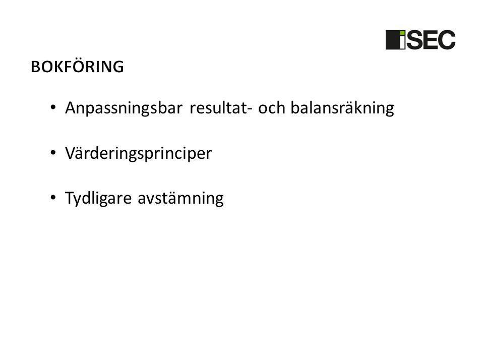 Bokföring Anpassningsbar resultat- och balansräkning Värderingsprinciper Tydligare avstämning