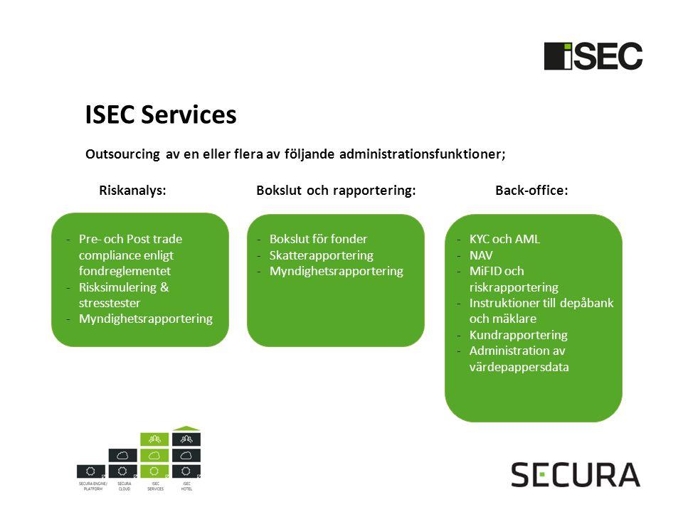 ISEC Services Outsourcing av en eller flera av följande administrationsfunktioner; Riskanalys: Bokslut och rapportering: Back-office: