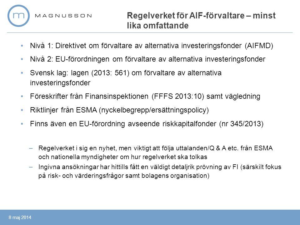 Regelverket för AIF-förvaltare – minst lika omfattande