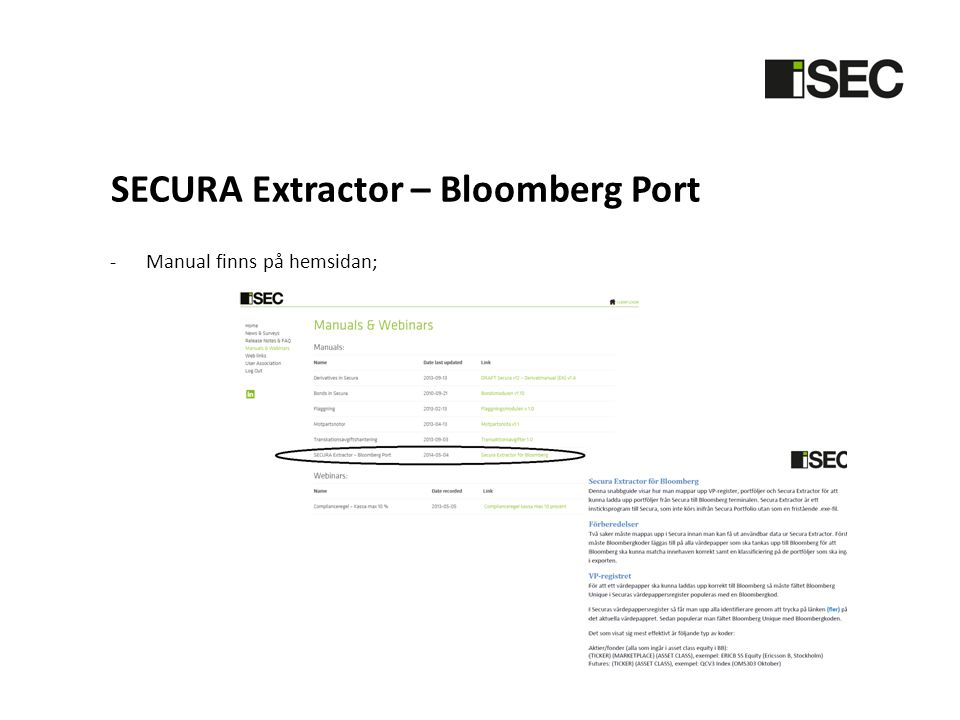 SECURA Extractor – Bloomberg Port