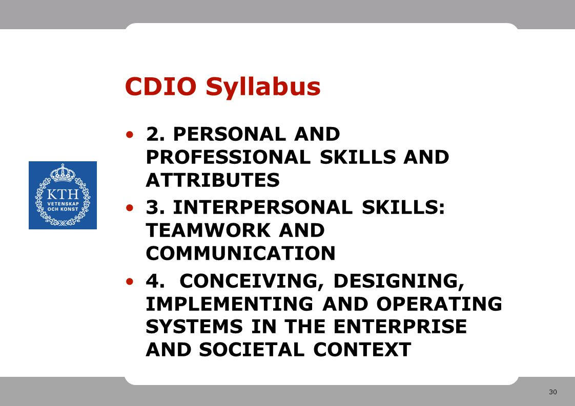 CDIO Syllabus 2. PERSONAL AND PROFESSIONAL SKILLS AND ATTRIBUTES