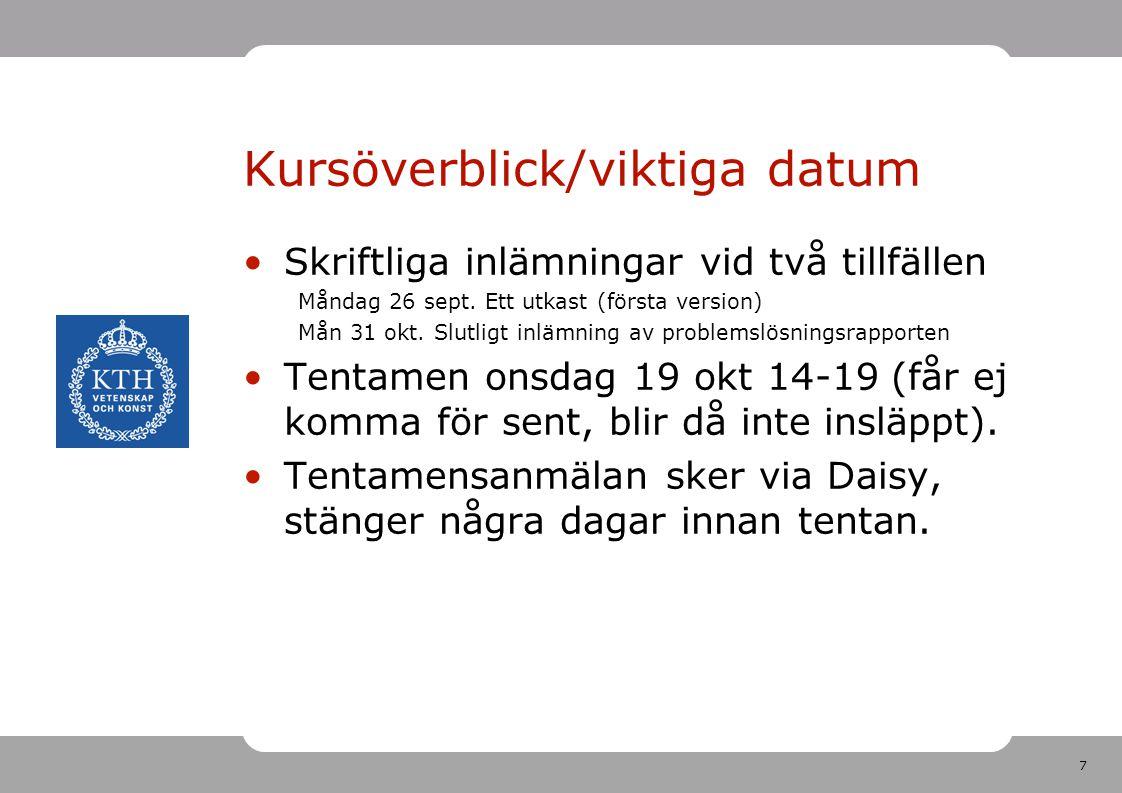 Kursöverblick/viktiga datum