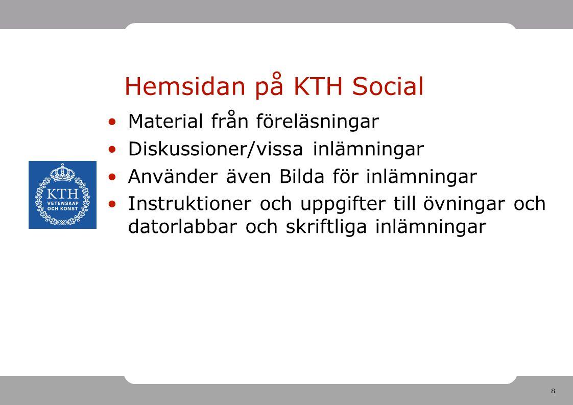 Hemsidan på KTH Social Material från föreläsningar