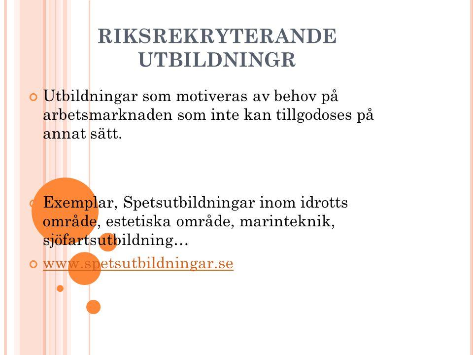 RIKSREKRYTERANDE UTBILDNINGR