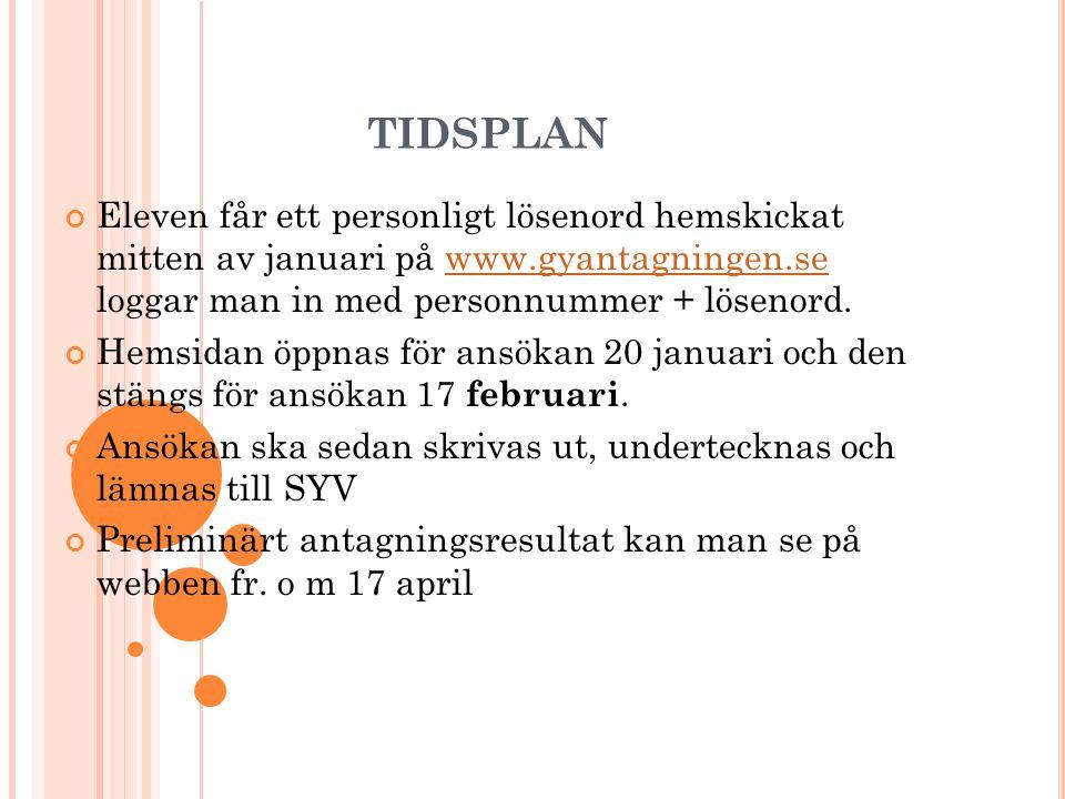 tidsplan Eleven får ett personligt lösenord hemskickat mitten av januari på www.gyantagningen.se loggar man in med personnummer + lösenord.