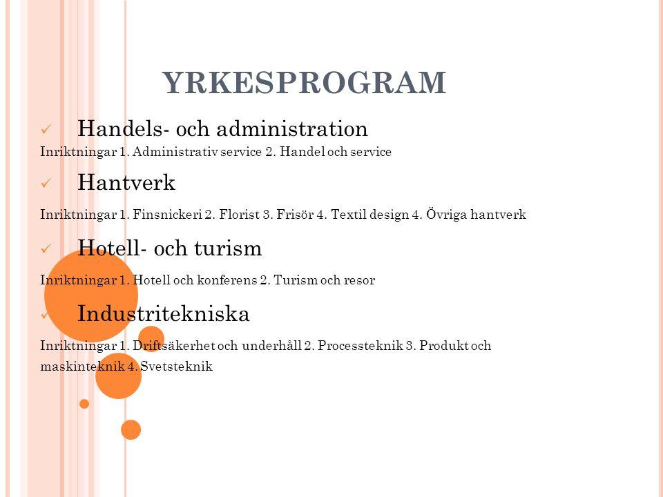 YRKESPROGRAM Handels- och administration Hantverk Hotell- och turism