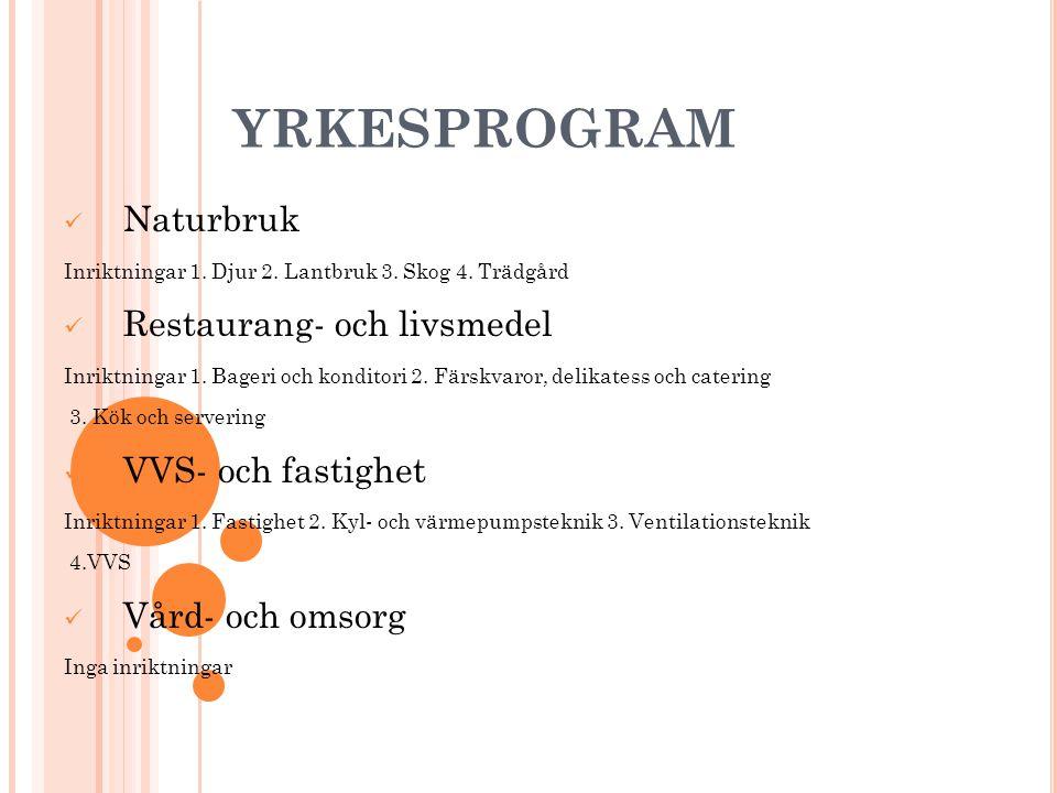 YRKESPROGRAM Naturbruk Restaurang- och livsmedel VVS- och fastighet