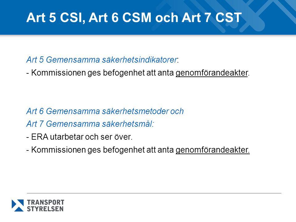 Art 5 CSI, Art 6 CSM och Art 7 CST