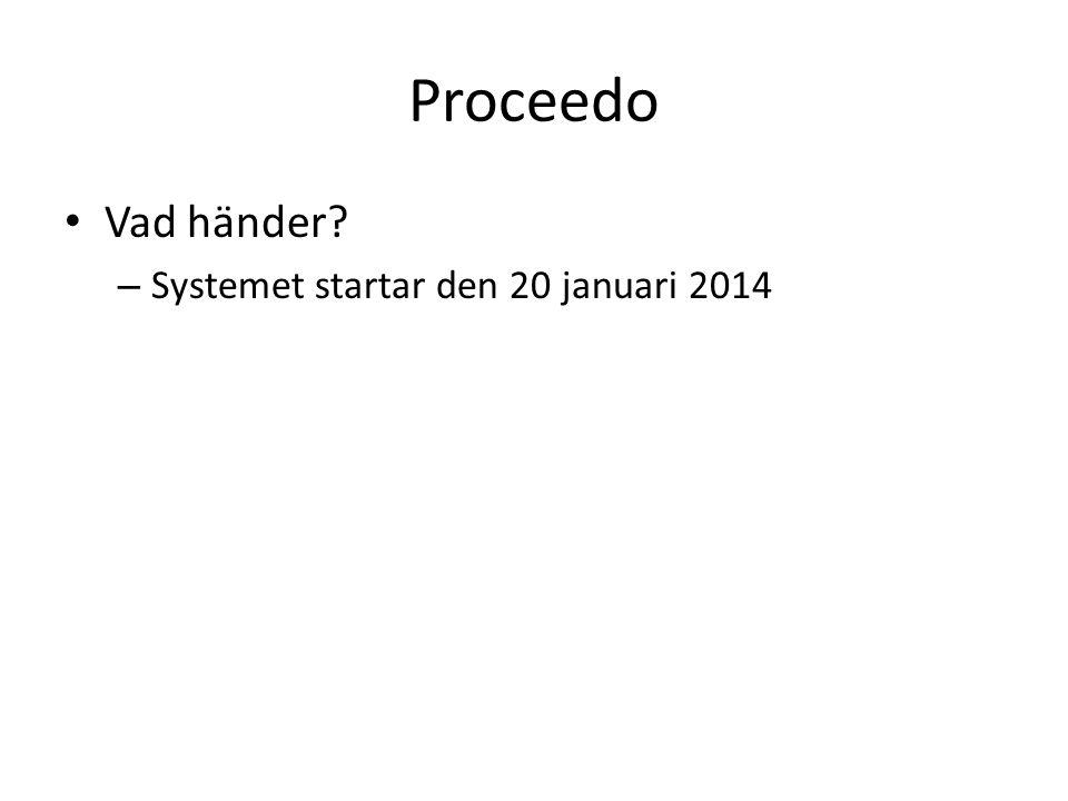 Proceedo Vad händer Systemet startar den 20 januari 2014