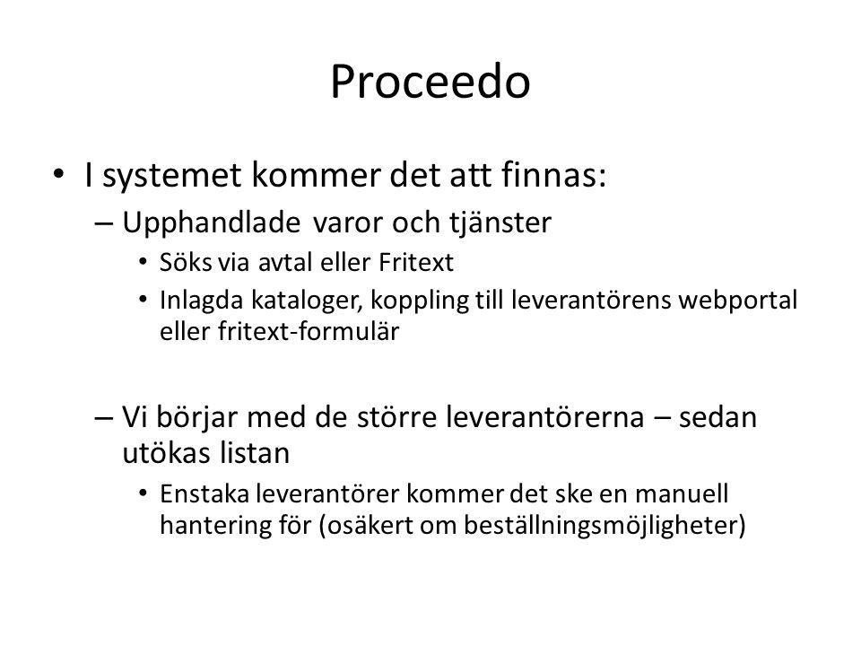 Proceedo I systemet kommer det att finnas: