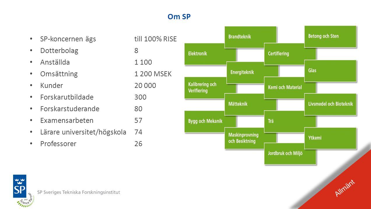 Om SP SP-koncernen ägs till 100% RISE Dotterbolag 8 Anställda 1 100