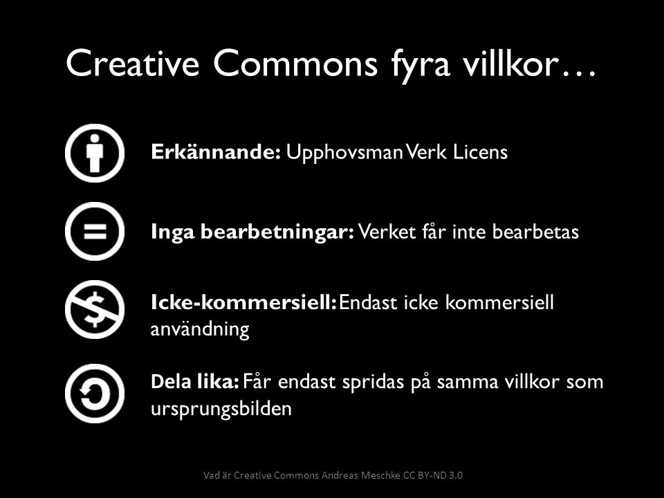 Creative Commons fyra villkor…