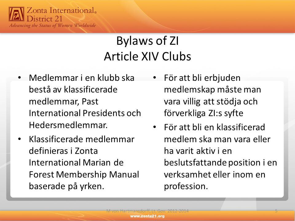 Bylaws of ZI Article XIV Clubs