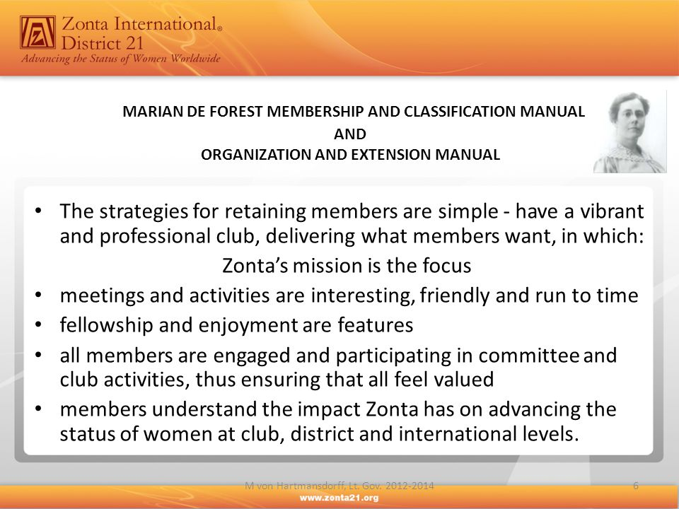 MARIAN DE FOREST MEMBERSHIP AND CLASSIFICATION MANUAL AND ORGANIZATION AND EXTENSION MANUAL