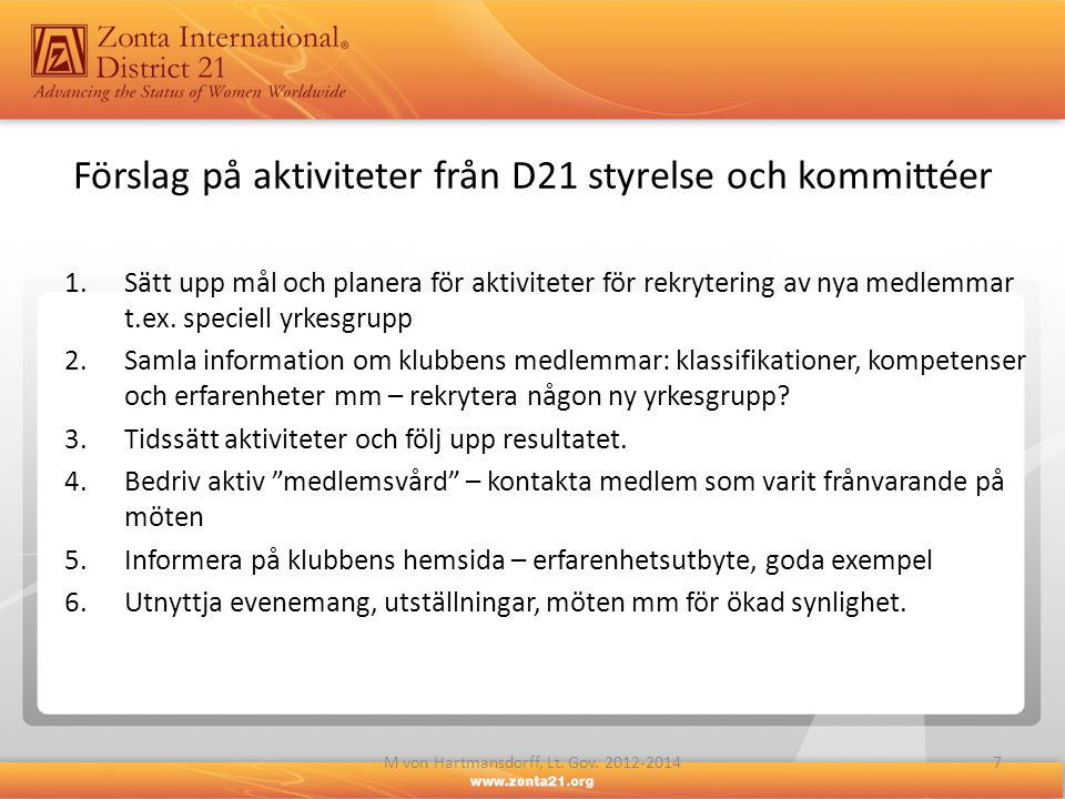 Förslag på aktiviteter från D21 styrelse och kommittéer