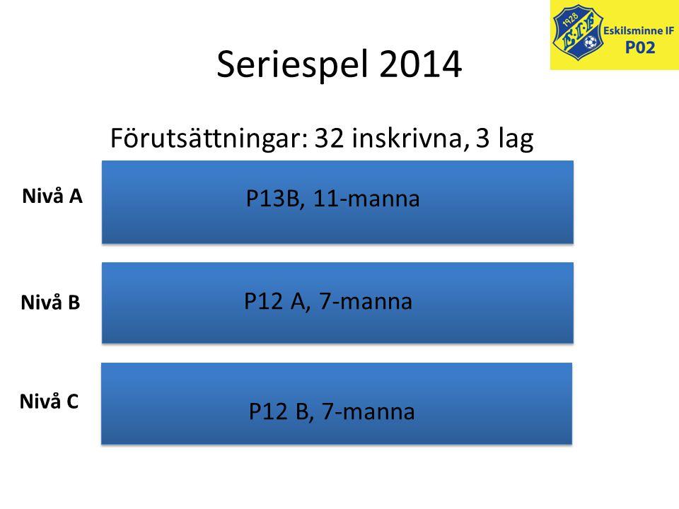 Seriespel 2014 Förutsättningar: 32 inskrivna, 3 lag P13B, 11-manna