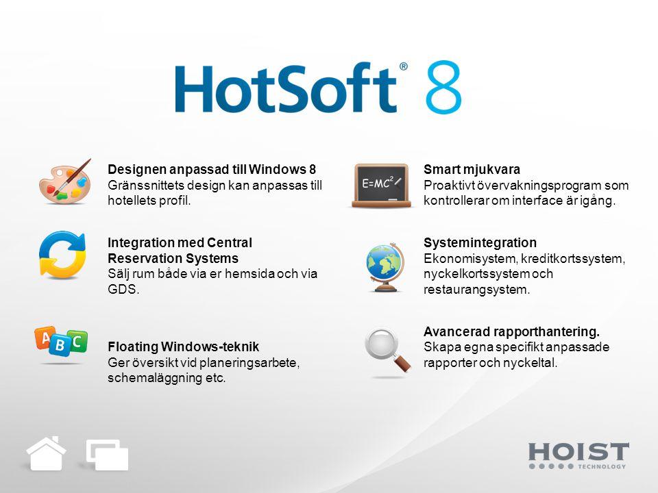 Designen anpassad till Windows 8 Gränssnittets design kan anpassas till hotellets profil.