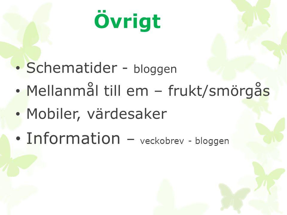 Övrigt Information – veckobrev - bloggen Schematider - bloggen