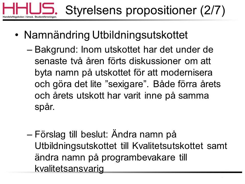 Styrelsens propositioner (2/7)
