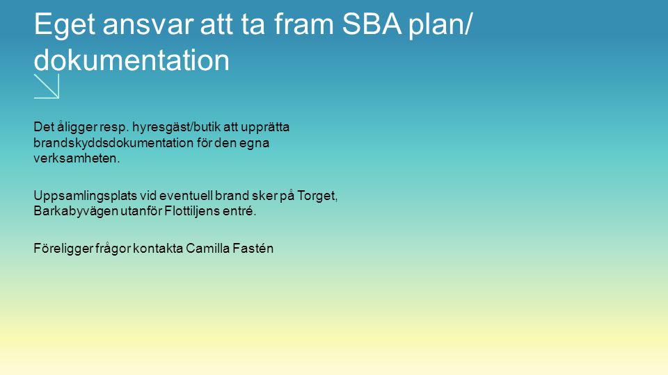 Eget ansvar att ta fram SBA plan/ dokumentation