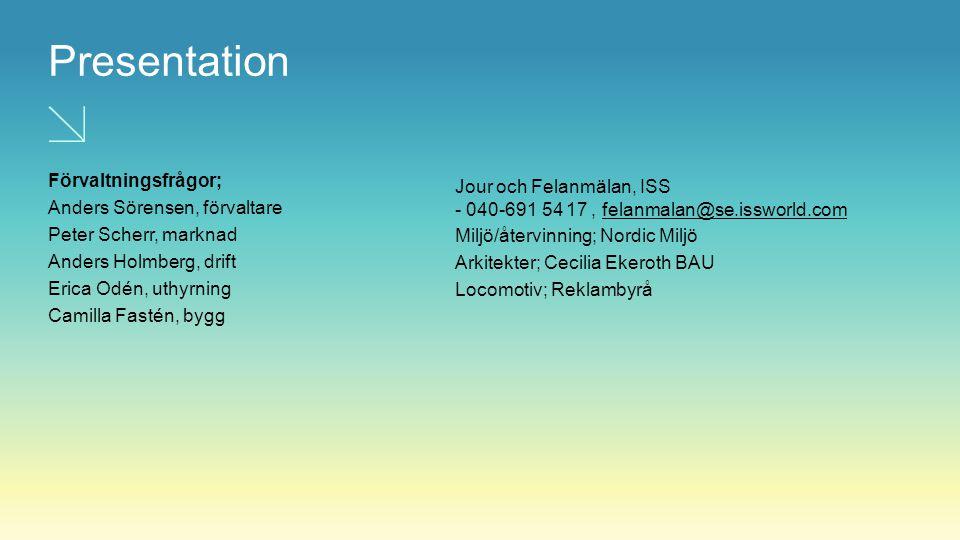 Presentation Förvaltningsfrågor; Anders Sörensen, förvaltare Peter Scherr, marknad Anders Holmberg, drift Erica Odén, uthyrning Camilla Fastén, bygg