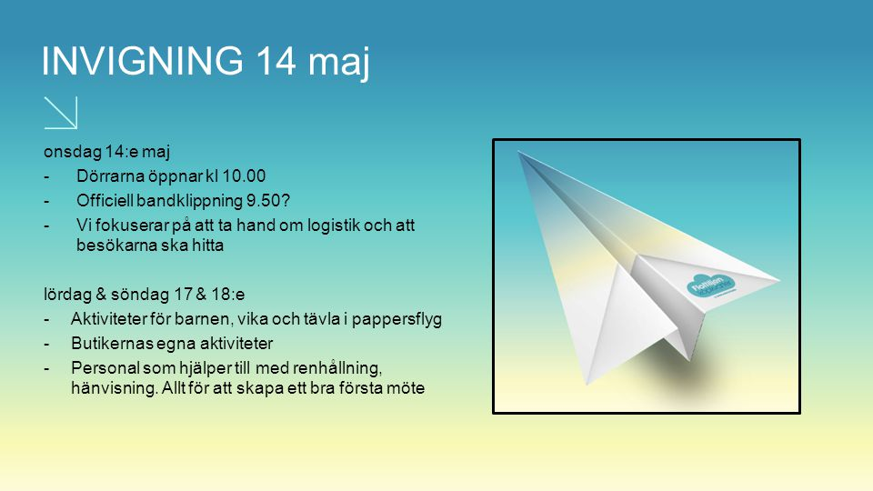 INVIGNING 14 maj onsdag 14:e maj Dörrarna öppnar kl 10.00