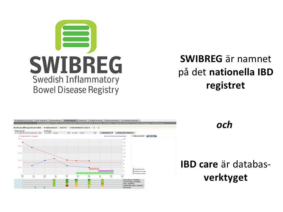 SWIBREG är namnet på det nationella IBD registret och IBD care är databas- verktyget