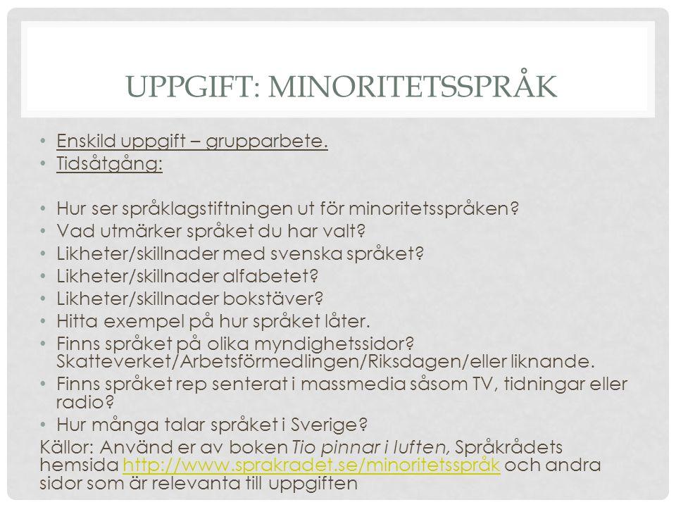 Uppgift: minoritetsspråk