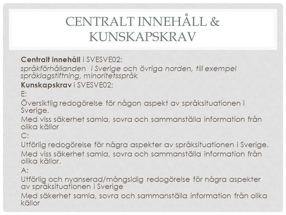 Centralt innehåll & kunskapskrav