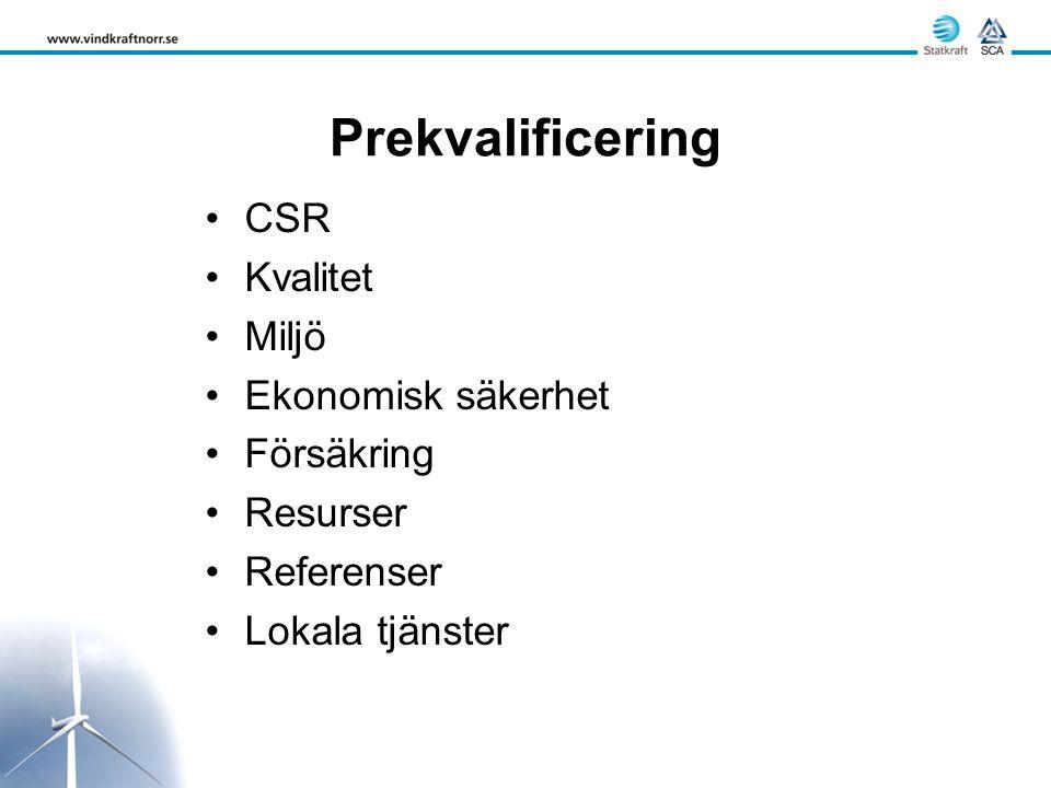 Prekvalificering CSR Kvalitet Miljö Ekonomisk säkerhet Försäkring