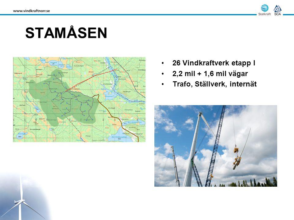 STAMÅSEN 26 Vindkraftverk etapp I 2,2 mil + 1,6 mil vägar