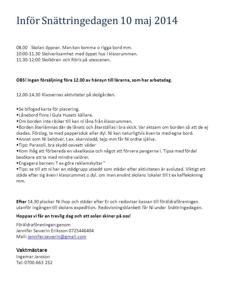 Inför Snättringedagen 10 maj 2014