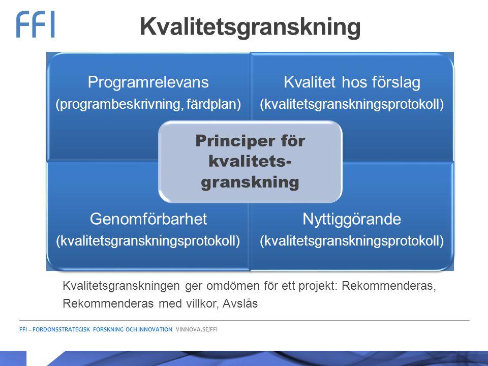 Kvalitetsgranskning Principer för kvalitets-granskning Programrelevans