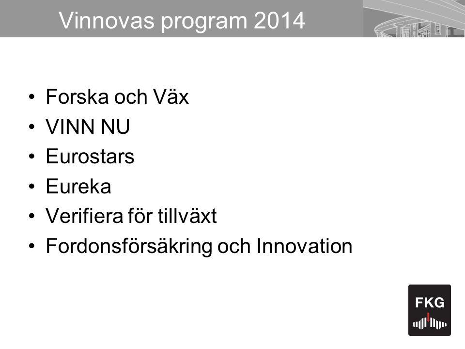 Vinnovas program 2014 Forska och Väx VINN NU Eurostars Eureka