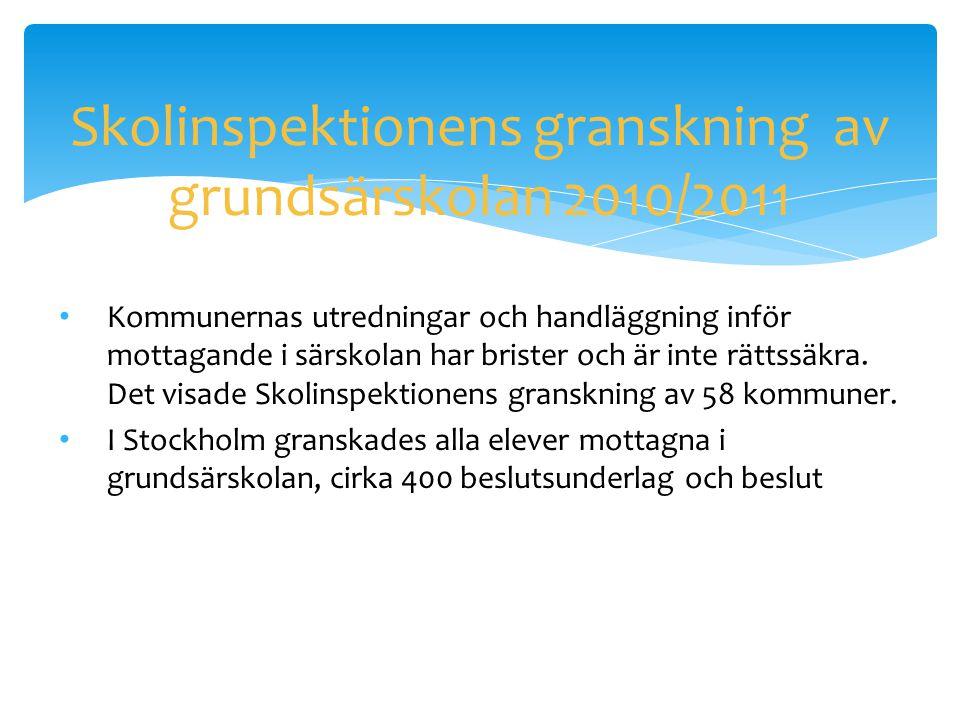 Skolinspektionens granskning av grundsärskolan 2010/2011