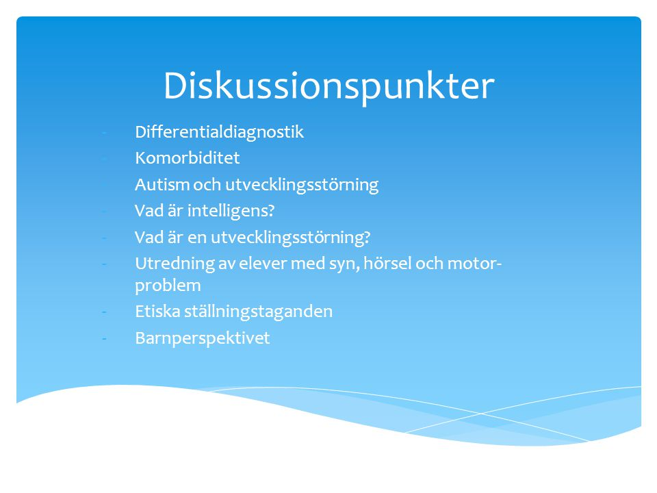 Diskussionspunkter Differentialdiagnostik Komorbiditet
