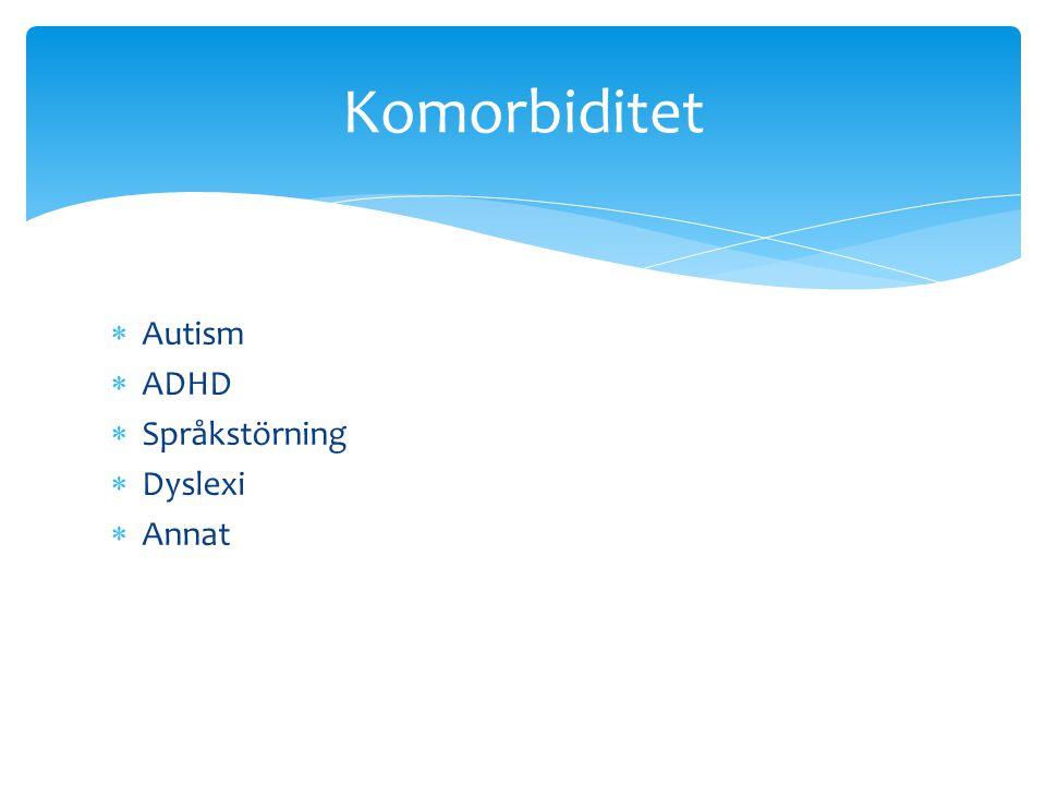 Komorbiditet Autism ADHD Språkstörning Dyslexi Annat
