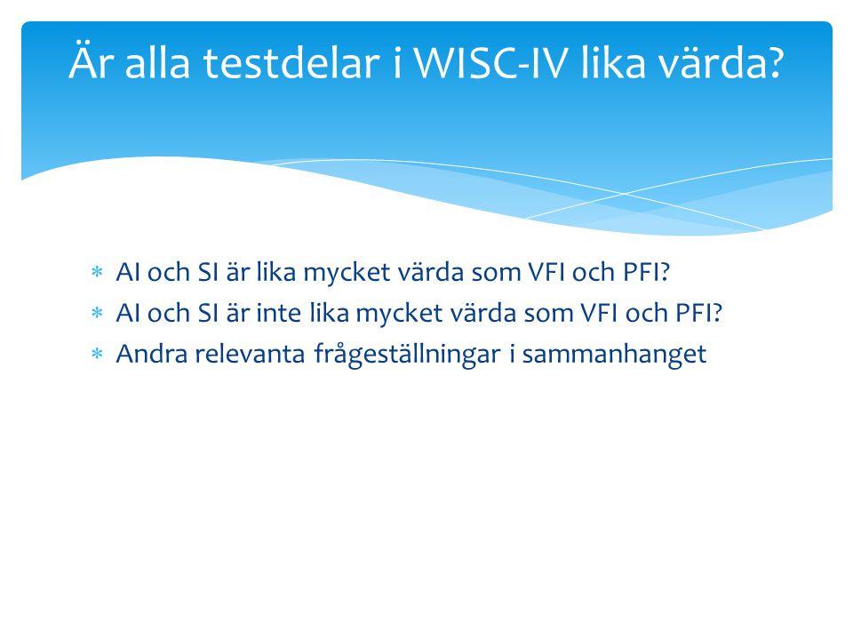 Är alla testdelar i WISC-IV lika värda