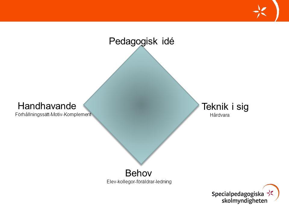 Pedagogisk idé Handhavande Teknik i sig Behov