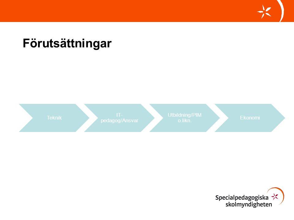 Förutsättningar Teknik IT-pedagog/Ansvar Utbildning/PIM o.likn.