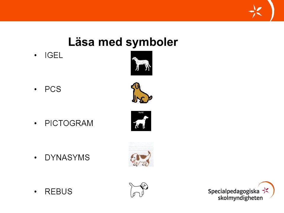 Läsa med symboler IGEL PCS PICTOGRAM DYNASYMS REBUS