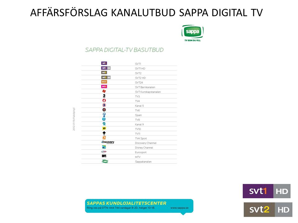 Affärsförslag Kanalutbud sappA Digital TV