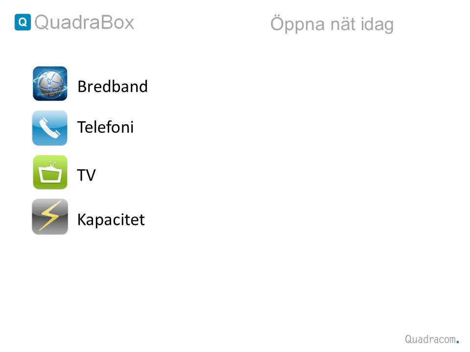 Öppna nät idag Bredband Telefoni TV Kapacitet