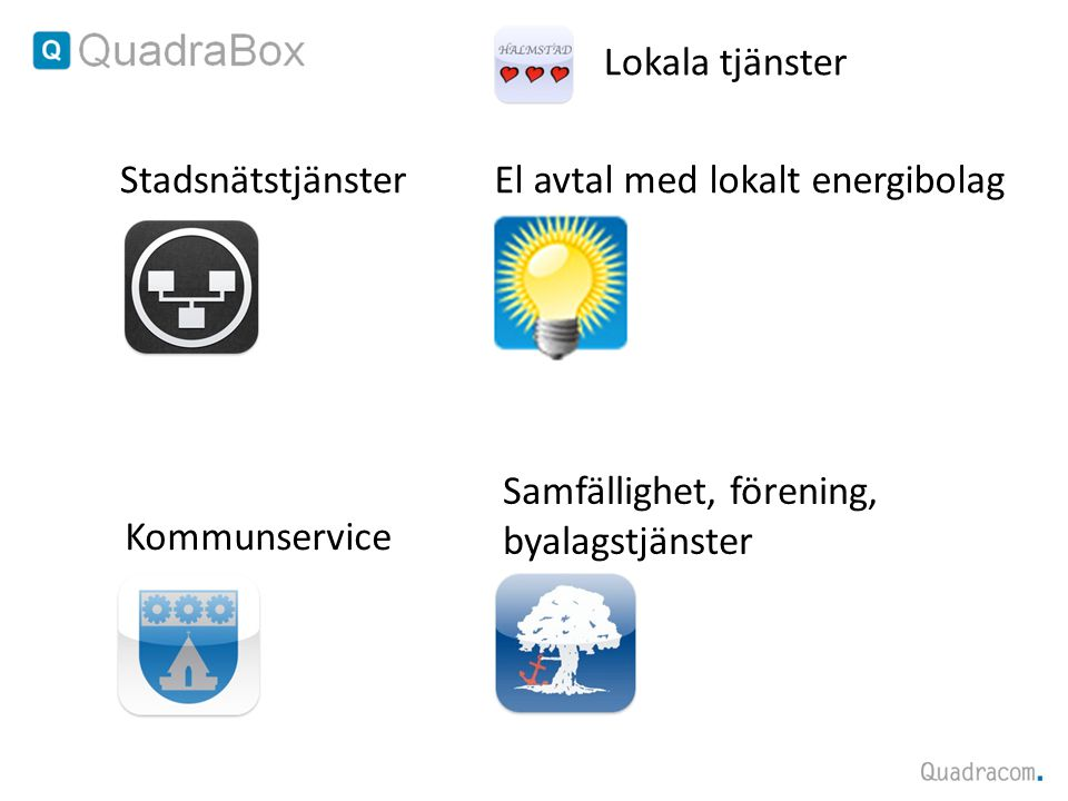 Lokala tjänster Stadsnätstjänster. El avtal med lokalt energibolag. Samfällighet, förening, byalagstjänster.