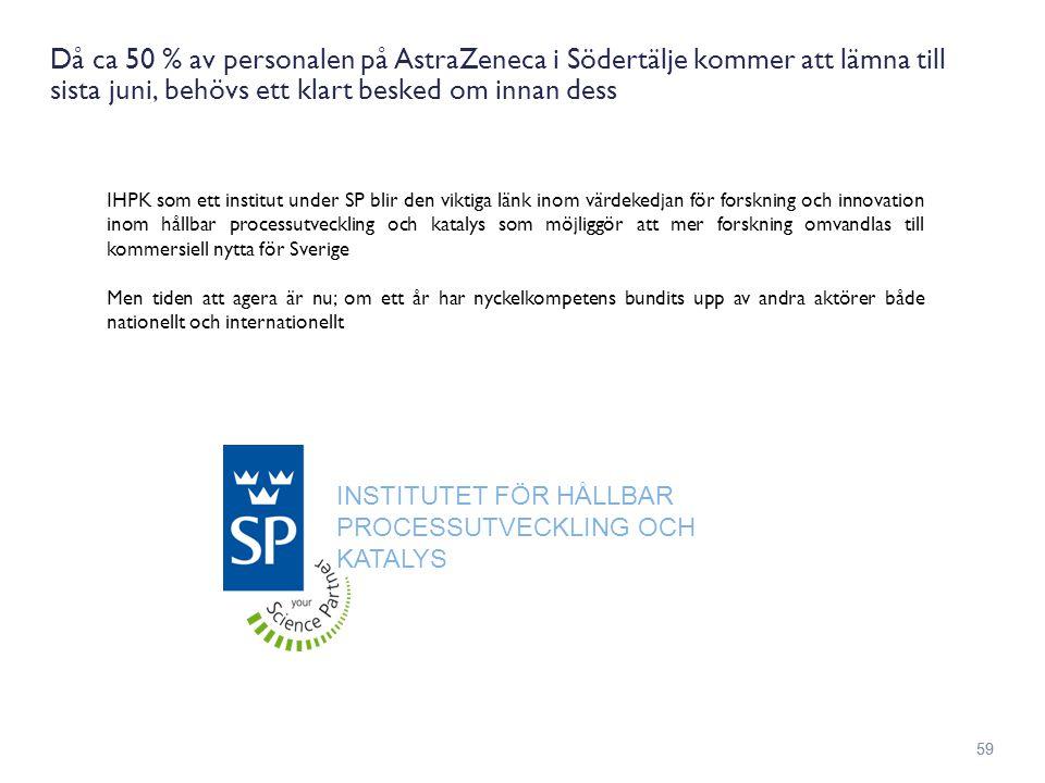 Då ca 50 % av personalen på AstraZeneca i Södertälje kommer att lämna till sista juni, behövs ett klart besked om innan dess