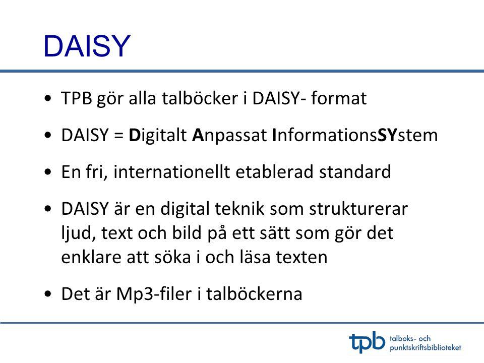 DAISY TPB gör alla talböcker i DAISY- format