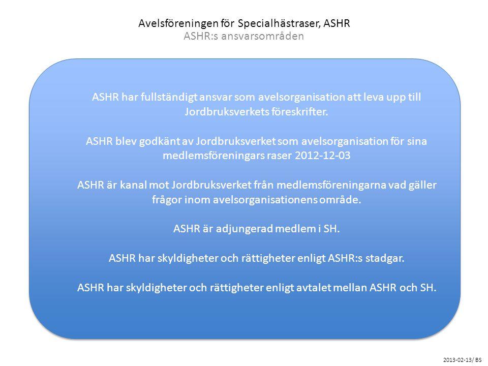 Avelsföreningen för Specialhästraser, ASHR