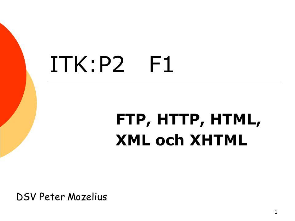 FTP, HTTP, HTML, XML och XHTML