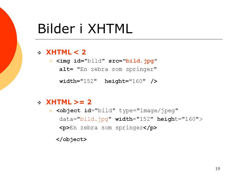 Bilder i XHTML XHTML < 2 XHTML >= 2