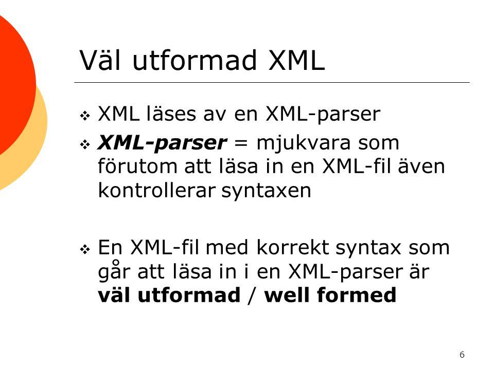 Väl utformad XML XML läses av en XML-parser